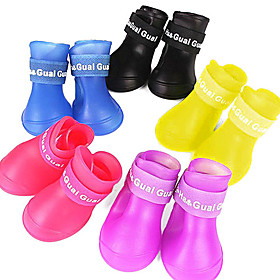 Dog Shoes  Boots Waterproof Summer Spring/Fall Solid Red Yellow Blue Purple Black Rubber