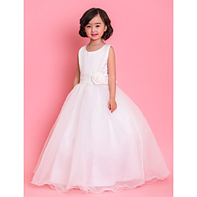 Formal Evening Wedding Party Vacation Dress A-line Jewel Ankle-length Satin Tulle with Bow(s) Lace Ruffles Sash / Ribbon Pleats