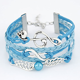 Women's European Style Retro Fashion Infinite Notes Wings Hand-woven Bracelets