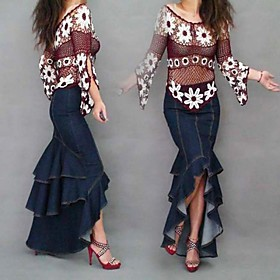 Flouncing Asymmetry Irregular Sexy Denim Long Skirts, Woman Jeans Mermaid Fishtail Maxi Skirts