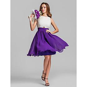 A-Line Jewel Neck Short / Mini Chiffon Bridesmaid Dress with Criss Cross Ruching by LAN TING BRIDE plus size,  plus size fashion plus size appare