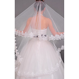One Tier Chapel Wedding Veil With Applique Edge