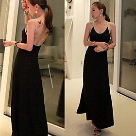 Women's Sexy Backless Black Modal Maxi Dress