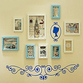 Mixed Color Photo Frame Collection Set of 9 with Blue Wall Sticker