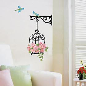 1PCS Colorful DIY BirdcageFlower Wall Sticker