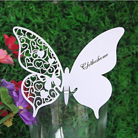 Laser Cut Heart Pattern Butterfly Place Card for Wine Glass - Set of 24 (More Colors)