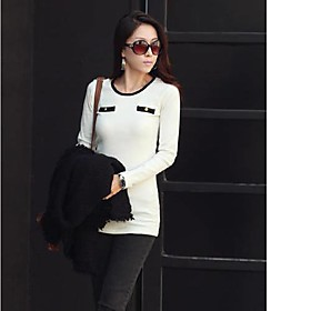 Women `s Casual Round Long T-skjorte Sleeve