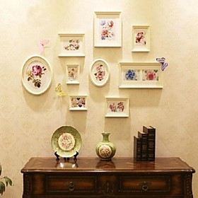 White Golden Photo Wall Frame Collection Set of 9