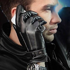 Men's Winter Faux Leather Gloves