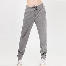 Women's Solid Black/Grey/Red Casual Pants Lace-Up Botton