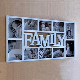 English Word Family White ABS Photo Wall Frame Collection Set of 10
