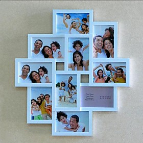 Conjoined White ABS Photo Wall Frame Collection Set of 10