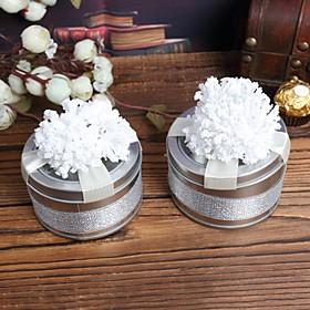 Cylinder Favor Tins med hvid blomst-s?t af 6
