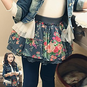 Girl's Floral Print Flower Denim Skirts