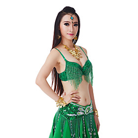 Belly Dance Tops Women's Performance Polyester Sequins / Tassel(s) 1 Piece Natural Top 1173339