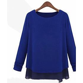 Mousseline de soie Hem Couture T-shirt manches longues pour femmes