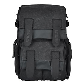 CADEN Camera Bag Anti-theft Waterproof Canvas Backpack For Canon Nikon Sony EOS 60D 7D 1100D - Sooty Black