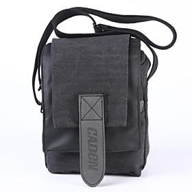 Borsa CADEN impermeabile della tela di canapa Mini spalla della macchina fotografica per Canon EOS-M2 EOS-M Nikon 1 V3 J3 - fuligginoso nero
