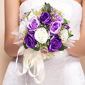 "Wedding Flowers Round Roses Bouquets Wedding Silk Purple 11.02""(Approx.28cm)"