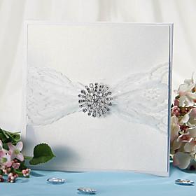 Wrap Pocket Wedding Invitation Med blonde b?nd og Rhinestone - S?t med 12