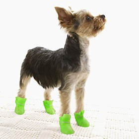 Cat / Dog Shoes  Boots Waterproof Winter / Spring/Fall Solid Yellow / Blue / Purple / Black / Pink Silicone