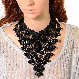 Women's Crystal Bib Choker Necklace / Pendant Necklace / Chain Necklace - Tower Gothic Black Necklace Jewelry 1pc For Party