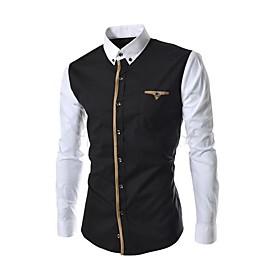Men's Solid Casual Shirt,Cotton Long Sleeve Black / Gray 1303971