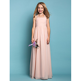 Sheath / Column Halter Floor Length Chiffon Junior Bridesmaid Dress with Ruching by LAN TING BRIDE