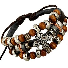 klassische archaistic 20cm Manner schwarz Leder Strang Armband () (1 Stuck) Schmuck