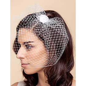 Wedding Veil One-tier Blusher Veils / Birdcage Veils Tulle White / Black A-line, Ball Gown, Princess, Sheath/ Column, Trumpet/ Mermaid thumbnail