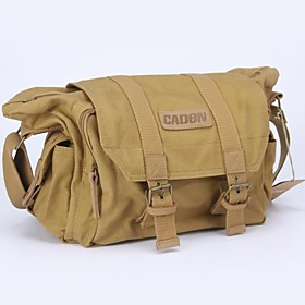 CADEN Camera Bag impermeabile Travel One sacchetto di spalla della tela di canapa per la macchina fotografica di Canon Nikon Sony SDLR - Khaki