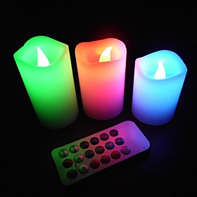 Romantic Lavender LED Color Changing Flameless Wax Candles Remote Control for Party and Tea Time (3-Set)