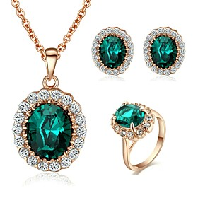 New Style 18K Rose Gold Plated Austria Crystal Sapphire Stone Pendant Neckla..