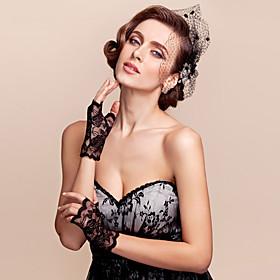 Wrist Length Half Finger Glove Lace Bridal Gloves Spring Summer Fall