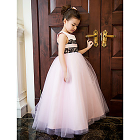 Formal Evening / Wedding Party / Vacation Dress A-line Jewel Ankle-length Lace / Satin / Tulle with