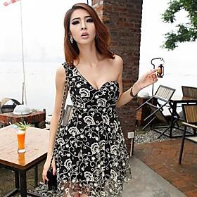 Kvinders Casual Brod?r Single Shoulder Dress