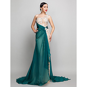 TS Couture Formal Evening / Military Ball Dress - See Through / Vintage Inspired Plus Size / Petite A-line One Shoulder Sweep / Brush Train Chiffon plus size,  plus size fashion plus size appare