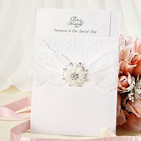 Wrap Pocket Wedding Invitation Med blonde b?nd og Faux Pearl - S?t med 12