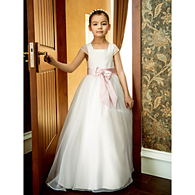 A-Line Ankle Length Flower Girl Dress - Organza Short Sleeves Square Neck with Bow(s) Lace Sash / Ribbon Pleats Ruffles by LAN TING BRIDE