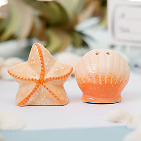 Ceramic Shell Star Salt Pepper Shakers Wedding Favor (Set of 2)