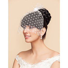 Wedding Veil One-tier Blusher Veils / Birdcage Veils 11.81 in (30cm) Tulle White / BlackA-line, Ball Gown, Princess, Sheath/ Column, thumbnail