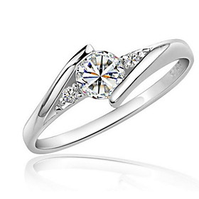 Women's Synthetic Diamond Ring - Zircon, Cubic Zirconia, Platinum Plated Love Statement, Elegant 6 / 7 / 8 Silver For Wedding Party Birthday