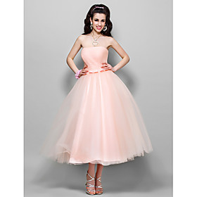 TS Couture Cocktail Party Homecoming Prom Wedding Party Dress - 1950s A-line Princess Strapless Tea-length Tulle with Bow(s) Ruching plus size,  plus size fashion plus size appare