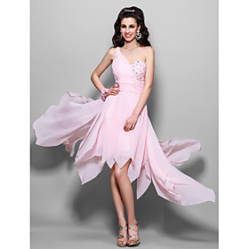 TS Couture Cocktail Party Homecoming Prom Dress - High Low A-line Princess One Shoulder Knee-length Asymmetrical Chiffon withBeading plus size,  plus size fashion plus size appare