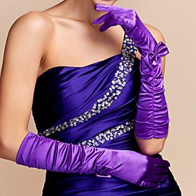 Elbow Length Fingertips Glove Satin Party/ Evening Gloves Spring Summer Fall Bow