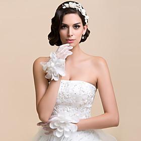 Delicate Net Fingertips Wrist Length Wedding Gloves With Flower