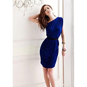 Dame Single skulder Crinkle Slim Dress