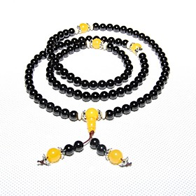 Maya Men's Fashion Natural Tibetan Black Agate Stone 108 Beads Charm Stretch..