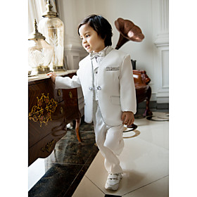 White Polester/Cotton Blend Ring Bearer Suit - Five-piece Suit Includes Jacket Pants Vest Bow Tie Shirt plus size,  plus size fashion plus size appare