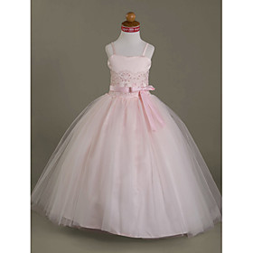 Ball Gown Floor Length Flower Girl Dress - Satin Tulle Sleeveless Spaghetti Straps Sweetheart with Beading Appliques Bow(s) Draping Lace